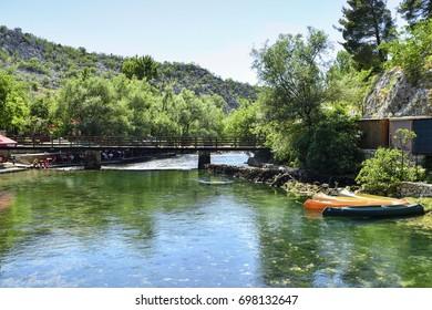 Bosnia-Herzegovina - Jun 26, 2017 : Spring of river Buna - Blagaj.  Bosnia and Herzegovina.