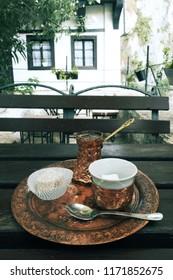 bosnian coffee in a cezve with a turkish delight, Blagaj Tekija - Bosnia And Herzegovina