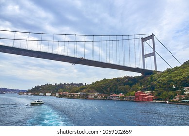 The Bosphorus Bridge connects the Asian side and the European side in Istanbul
