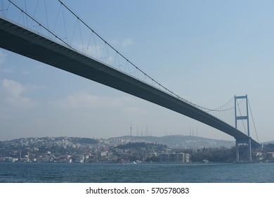 Bosphorus Bridge in Istanbul, January 2013. Turkey.