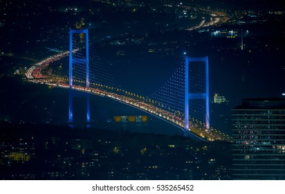 Bosphorus Bridge at night in Istanbul Turkey