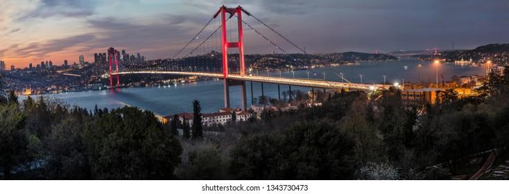 Bosphorus Panorama. Fatih Sultan Mehmet Bridge, Bosphorus bridge in Istanbul Turkey