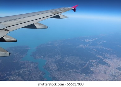 The Bosphorus seen from the window of an aircraft