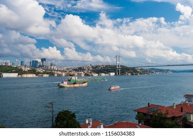 Bosphorus and ships, View from Kuzguncuk Hills