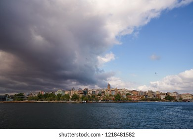 Bosphorus view Galata tower Beyoglu district travel destination famous historical and cultural heritage cityscape panorama sight. Sightseeng tourism view. Istanbul Turkey