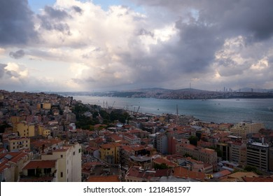Bosphorus view from Galata tower Beyoglu district and Asian side of Istanbul Turkey travel destination famous historical and cultural heritage cityscape panorama sight. Sunset sky landscape view