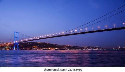 Bosporus Bridge at night Istanbul / Turkey