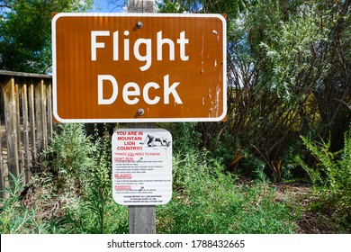 Bosque del Apache National Wildlife Refuge, San Antonio, New Mexico / USA - July 3, 2016: Flight Deck and Warning Sign.