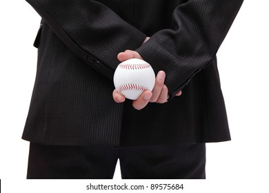 Boss (Business man) holding ball in his back