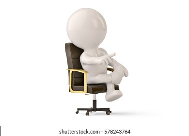 Boss businessman Character on a chair.3D illustration.