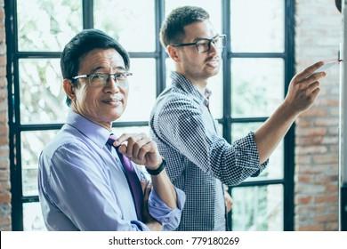 Boss Coaching Employee Writing on Whiteboard