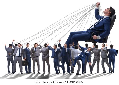 Boss employee manipulating his staff in business concept