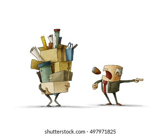 Boss firing the employee who holding heap of boxes. Isolate, white background
