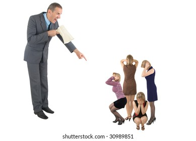 The boss in a grey suit shouts in a megaphone on four women