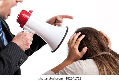 Boss with megaphone shouting at his employee