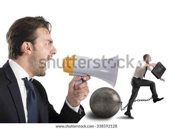 Boss reproach employee who runs with impediment
