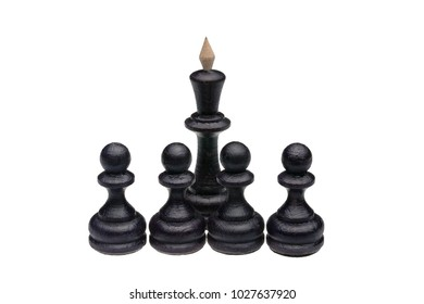 boss and team from wooden black chess queen and pawns, isolated on white background.