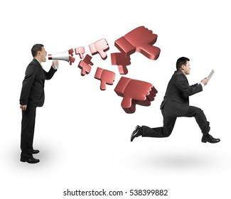 Boss using megaphone yelling at running employee holding table with spraying out 3D thumbs down objects, isolated on white background.