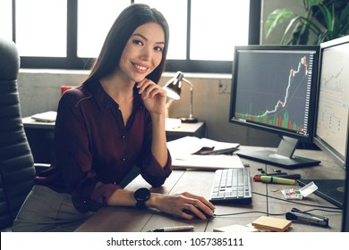 Boss woman is working with computer, working finance trading stock