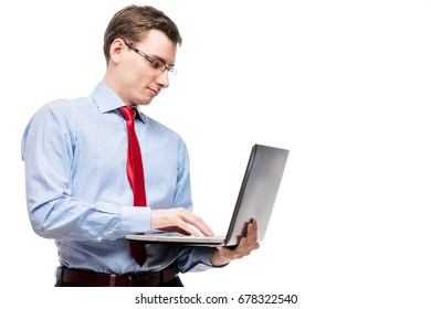 Boss working on laptop on white background in studio