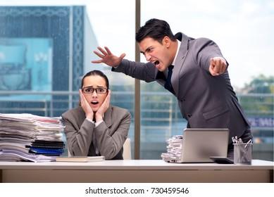 Boss yelling at his team member