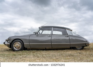 BOSSCHENHOOFD/NETHERLANDS-JUNE 11, 2018: side view of a grey classic Citroen DS at a classic car meeting. This is one of the most famous french cars ever built