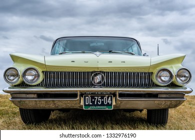 BOSSCHENHOOFD/NETHERLANDS-JUNE 17, 2018: front view of a classic Buick Electra at a classic car meeting