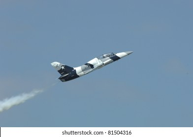 BOSSIER CITY, LA - MAY 8: A Heavy Metal Flight Team L-39 performs a high speed manuever at the Barksdale AFB airshow on May 8, 2011 in Bossier City, LA.
