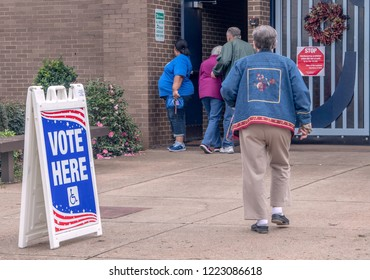 BOSSIER CITY, LA., U.S.A., - NOV. 6, 2018: Voters enter a polling place to cast ballots in the 2018 Mid-term elections, in which U.S. Rep. Mike Johnson, R-La., defends his Congressional seat.