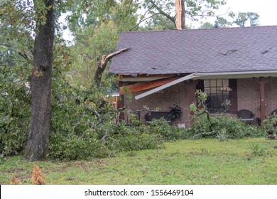 BOSSIER PARISH, LA., U.S.A. - OCT. 21, 2019: Homes were damaged, trees felled and power outages resulted when a severe thunderstorm with hail and up to 70 mph winds passed through a subdivision.