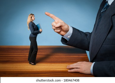 Bossing, mobbing and bullying on workplace concept. Bossy behavior of CEO.
