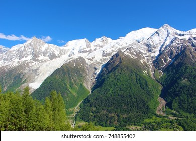 Bossons glacier in summer, the largest icefall in Europe that comes from the summit of Mont Blanc, Chamonix, France