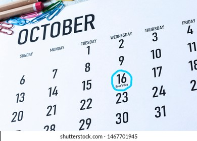 Boss's day or boss appreciation day - October 16 highlighted on the calendar