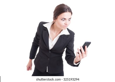 Bossy, furious and angry business woman on live video call isolated on white background