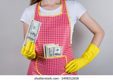 Bossy wife scolding her husband child concept. Cropped close up photo of excited positive proud lady showing pile stack of money in hands isolated grey background