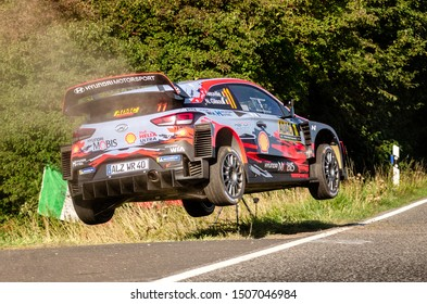 BOSTALSEE, GERMANY - AUG 23: Belgian driver Thierry Neuville and his codriver Nicolas Gilsoul in a Hyundai i20 Coupe WRC race in the ADAC Rallye Deutschland 2019, on Aug 23, 2019 in Bostalsee, Germany