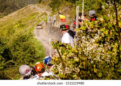 BOSTALSEE, GERMANY - AUG 23: Belgian driver Guillaume de Mevius and his codriver Martijn Wydaeghe in a Citroen C3 R5 race in the ADAC Rallye Deutschland 2019, on Aug 23, 2019 in Bostalsee
