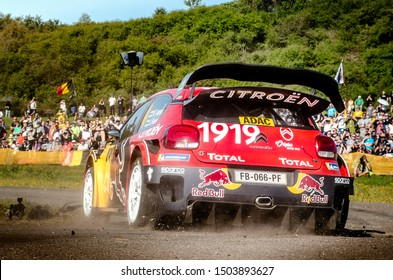 BOSTALSEE, GERMANY - AUG 23: Finnish driver Esapekka Lappi and his codriver Janne Ferm in a Citroen C3 WRC race in the ADAC Rallye Deutschland 2019, on Aug 23, 2019 in Bostalsee, Germany.