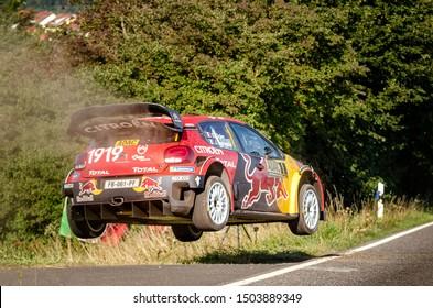 BOSTALSEE, GERMANY - AUG 23: French driver Sebastien Ogier and his codriver Julien Ingrassia in a Citroen C3 WRC race in the ADAC Rallye Deutschland 2019, on Aug 23, 2019 in Bostalsee, Germany.