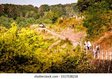 BOSTALSEE, GERMANY - AUG 23: German driver Fabian Kreim and his codriver Tobias Braun in a Skoda Fabia R5 race in the ADAC Rallye Deutschland 2019, on Aug 23, 2019 in Bostalsee, Germany.