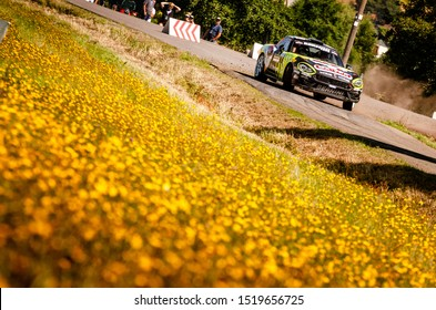 BOSTALSEE, GERMANY - AUG 23: Italian driver Enrico Brazzoli and his codriver Manuel Fenoli in an Abarth 124 Rally RGT race in the ADAC Rallye Deutschland 2019, on Aug 23, 2019 in Bostalsee, Germany