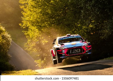 BOSTALSEE, GERMANY - AUG 23: Norwegian driver Andreas Mikkelsen and his codriver Jaeger Anders in a Hyundai i20 WRC race in the ADAC Rallye Deutschland 2019, on Aug 23, 2019 in Bostalsee, Germany