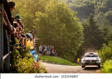 BOSTALSEE, GERMANY - AUG 23: Polish driver Kajetan Kajetanowicz and his codriver Maciej Szczepaniak in a Volkswagen Polo R5 race in the ADAC Rallye Deutschland 2019, on Aug 23, 2019 in Bostalsee.