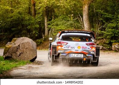 BOSTALSEE, GERMANY - AUG 23: Spanish driver Dani Sordo and his codriver Carlos del Barrio in a Hyundai i20 Coupe WRC race in the ADAC Rallye Deutschland 2019, on Aug 23, 2019 in Bostalsee, Germany.