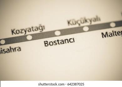 Bostanci Station. Istanbul Metro map.