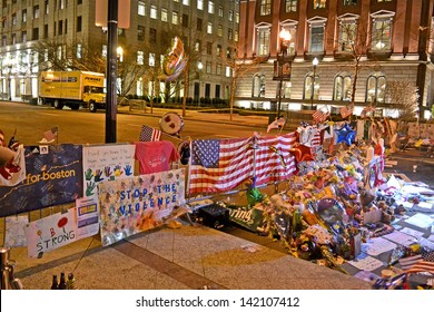 BOSTON - APR 18: Memorial from flowers set up on Boylston Street in Boston, USA on April 18, 2013. 3 people killed and over 100s injured during Boston Marathon bombing on April 15, 2013.