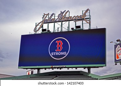 BOSTON - APR 20: Boston Strong message in Fenway Park in USA, in Boston,USA on April 20,2013. 3 people killed and over 100s injured during Boston Marathon bombing on April 15, 2013.
