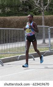 BOSTON - APRIL 17 :  Edna Kiplagat of Kenya won the Boston Marathon with a time of 2:21:52 April 17, 2017 in Boston. [public race]