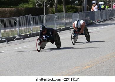BOSTON - APRIL 17 : Hiroki Nishida and Kurt Fearnley races in the Boston Marathon on April 17, 2017 [public race]