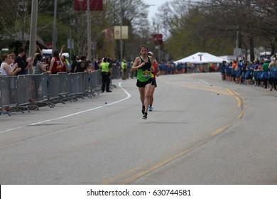 BOSTON - APRIL 17 : Jonathan Kotter of Hollady Utah races in the Boston Marathon on April 17, 2017 [public race]